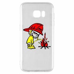 Чехол для Samsung S7 EDGE Писающий хулиган-пожарный