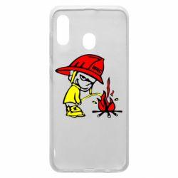 Чехол для Samsung A20 Писающий хулиган-пожарный