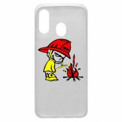 Чехол для Samsung A40 Писающий хулиган-пожарный