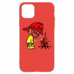 Чехол для iPhone 11 Писающий хулиган-пожарный