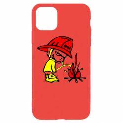 Чехол для iPhone 11 Pro Писающий хулиган-пожарный