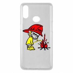 Чехол для Samsung A10s Писающий хулиган-пожарный