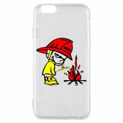 Чехол для iPhone 6 Писающий хулиган-пожарный