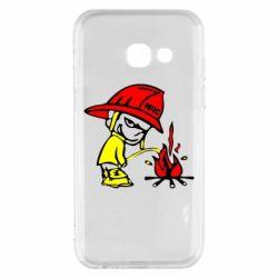 Чехол для Samsung A3 2017 Писающий хулиган-пожарный
