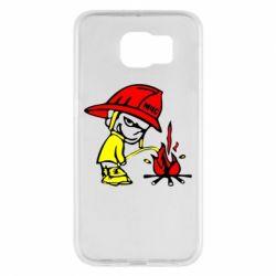 Чехол для Samsung S6 Писающий хулиган-пожарный