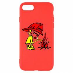 Чехол для iPhone 7 Писающий хулиган-пожарный
