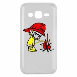 Чехол для Samsung J2 2015 Писающий хулиган-пожарный