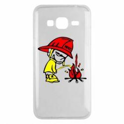 Чехол для Samsung J3 2016 Писающий хулиган-пожарный