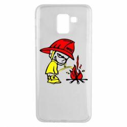 Чехол для Samsung J6 Писающий хулиган-пожарный