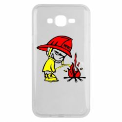 Чехол для Samsung J7 2015 Писающий хулиган-пожарный