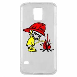 Чехол для Samsung S5 Писающий хулиган-пожарный