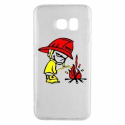 Чехол для Samsung S6 EDGE Писающий хулиган-пожарный