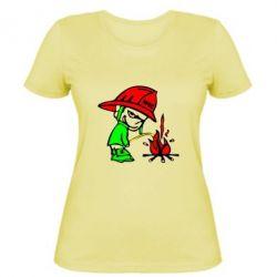 Женская футболка Писающий хулиган-пожарный - FatLine