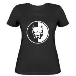 Женская футболка Питбуль круг
