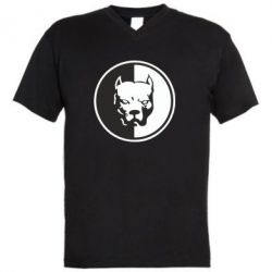 Мужская футболка  с V-образным вырезом Питбуль круг