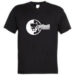 Мужская футболка  с V-образным вырезом Питбуль Синдикат - FatLine