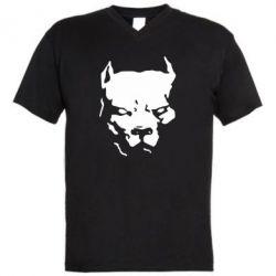 Мужская футболка  с V-образным вырезом Питбуль - FatLine