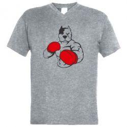 Мужская футболка  с V-образным вырезом Pitbull Boxing Logo