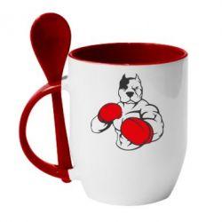 Купить Кружка с керамической ложкой Pitbull Boxing Logo, FatLine