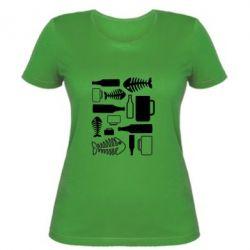 Женская футболка Пиво и рыбка - FatLine
