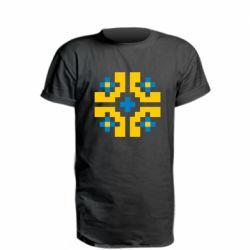 Удлиненная футболка Pixel pattern blue and yellow