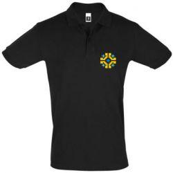 Мужская футболка поло Pixel pattern blue and yellow