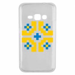 Чехол для Samsung J1 2016 Pixel pattern blue and yellow