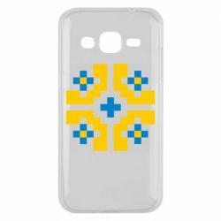 Чехол для Samsung J2 2015 Pixel pattern blue and yellow
