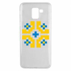 Чехол для Samsung J6 Pixel pattern blue and yellow