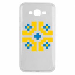 Чехол для Samsung J7 2015 Pixel pattern blue and yellow