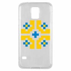 Чехол для Samsung S5 Pixel pattern blue and yellow