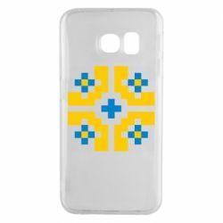 Чехол для Samsung S6 EDGE Pixel pattern blue and yellow