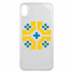 Чехол для iPhone Xs Max Pixel pattern blue and yellow
