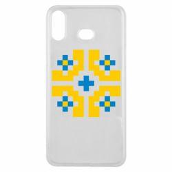 Чехол для Samsung A6s Pixel pattern blue and yellow