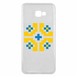 Чехол для Samsung J4 Plus 2018 Pixel pattern blue and yellow