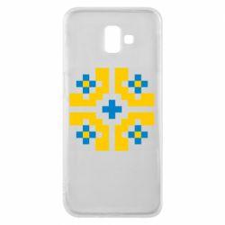 Чехол для Samsung J6 Plus 2018 Pixel pattern blue and yellow