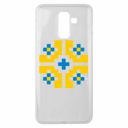 Чехол для Samsung J8 2018 Pixel pattern blue and yellow