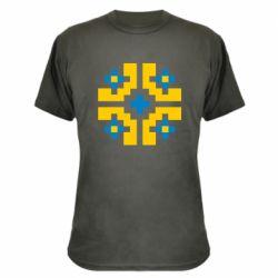 Камуфляжная футболка Pixel pattern blue and yellow