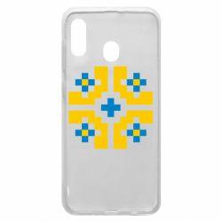 Чехол для Samsung A20 Pixel pattern blue and yellow