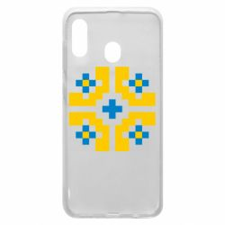 Чехол для Samsung A30 Pixel pattern blue and yellow