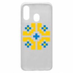 Чехол для Samsung A40 Pixel pattern blue and yellow