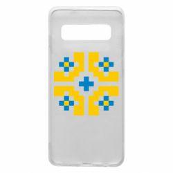 Чехол для Samsung S10 Pixel pattern blue and yellow