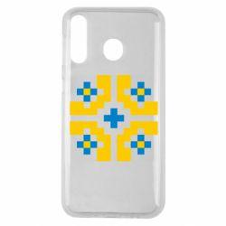 Чехол для Samsung M30 Pixel pattern blue and yellow