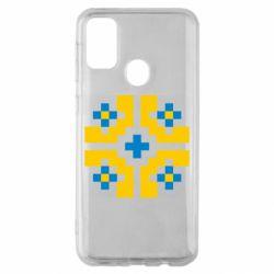 Чехол для Samsung M30s Pixel pattern blue and yellow