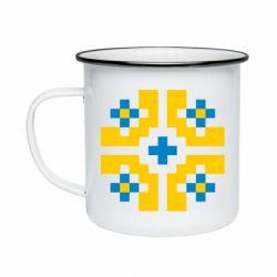 Кружка эмалированная Pixel pattern blue and yellow