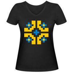Женская футболка с V-образным вырезом Pixel pattern blue and yellow