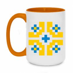 Кружка двухцветная 420ml Pixel pattern blue and yellow