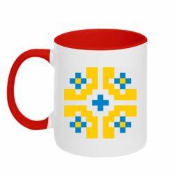 Кружка двухцветная 320ml Pixel pattern blue and yellow