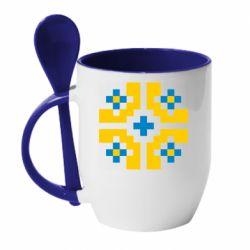Кружка с керамической ложкой Pixel pattern blue and yellow