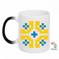 Кружка-хамелеон Pixel pattern blue and yellow
